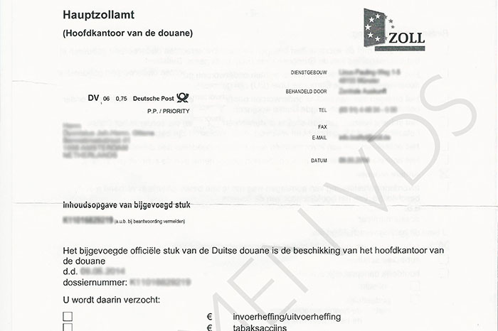 Factuur wegenbelasting Hauptzollamt bij Zollkennzeichen   VDS Auto